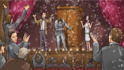 Le Docteur, Harry et la dame aux sequins sur scène